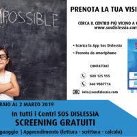 DAL 25 FEBBRAIO AL 2 MARZO – Screening gratuitiin tutti i Centri SOS DISLESSIA